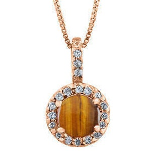 Diamond Tigers Eye Stone Halo Pendant Rose Yellow White Black Gold Silver Tigers Eye Necklace Tigers Eye Stone Gold Necklace Pendant Jewelry