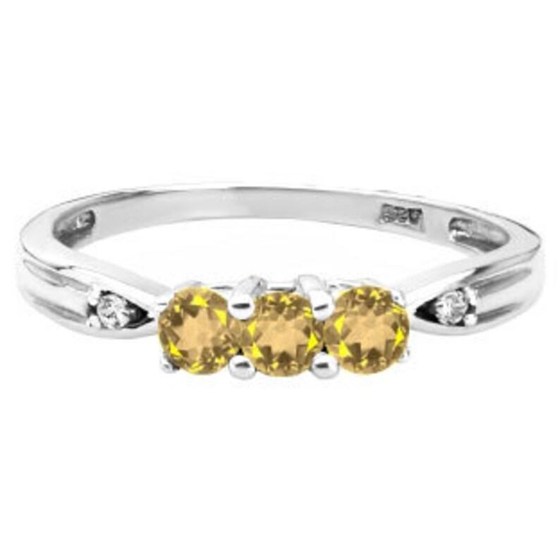 November Birthstone Citrine Jewelry Citrine Gemstone Ring 3 Stone Round Cut Citirne Gemstone Diamond Ring In White Rose Yellow Gold Silver