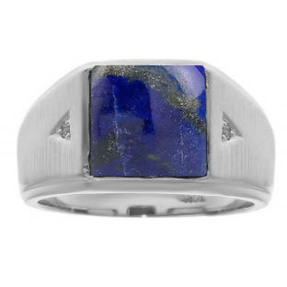 79654fee514d8 Square Lapis Lazuli Diamond Ring For Men In White Rose Black Gold Silver,  Lapis Mens Rings December Birthstone Men Jewelry Blue Lapis Ring