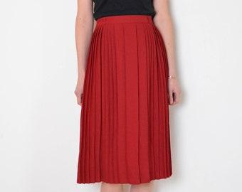 6bbf930a00f8 90's cherry red pleated midi skirt, plus size retro old fashioned full skirt,  schoolgirl skirt, preppy skirt, flared a line vintage skirt