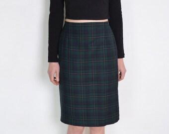 2e78096c724f 90's wool tartan midi skirt, high waisted plaid pencil skirt, black, beige,  dark green and navy tartan plaid, preppy British skirt