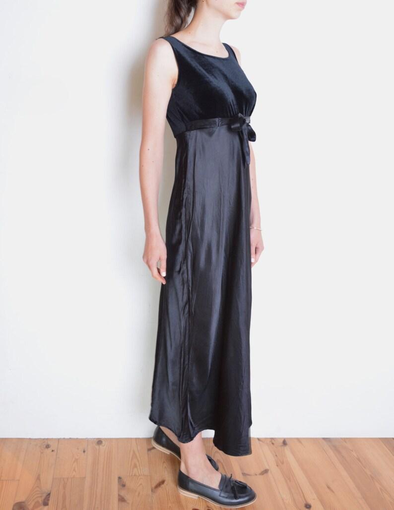 370f638f2fac 90's velvet and satin dress black empire waist dress with | Etsy