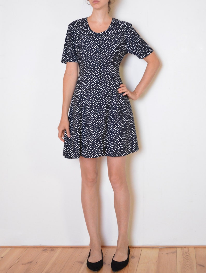 90\'s French polka dot dress navy and white buttoned | Etsy