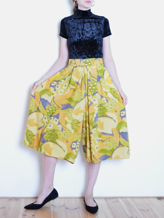 90's abstract print wide pants, summer culotte pan