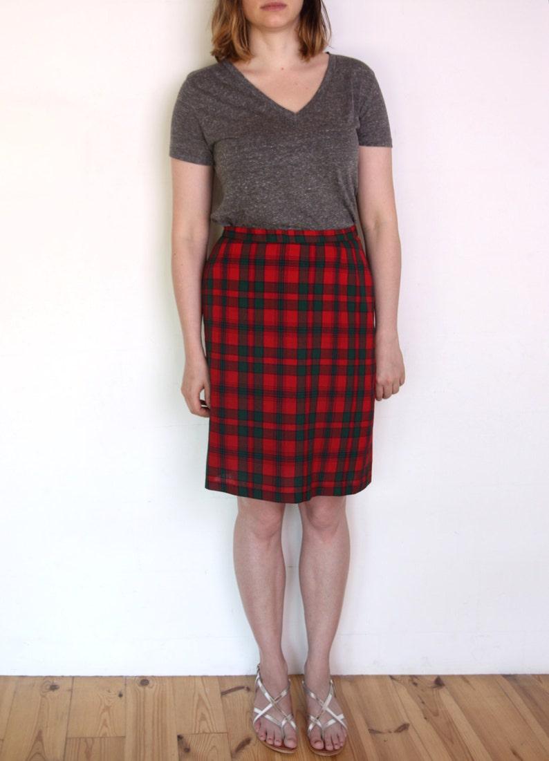 917258b3df11 80's tartan pencil skirt high waisted plaid pencil skirt | Etsy