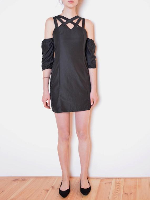 90's crossed straps mini dress, little black dress, grunge black dress open shoulders black mini dress, pentagram witch goth magic dress xs