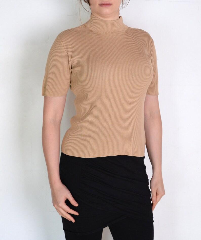 minimalist cream white ecru high neck knitted blouse beige off white knit short sleeve top 90/'s ribbed silk mock neck preppy