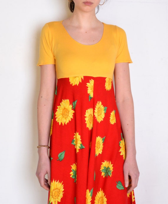 90's sunflower dress, yellow and red colorblock m… - image 4