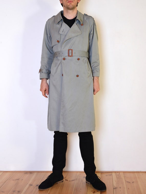 80's gray trench coat, classic long coat with plai
