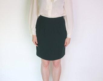 90 ' s vert laine Karl Lagerfeld crayon jupe, jupe de Secrétaire vert foncé, en jupe taille haute de France, designer Français
