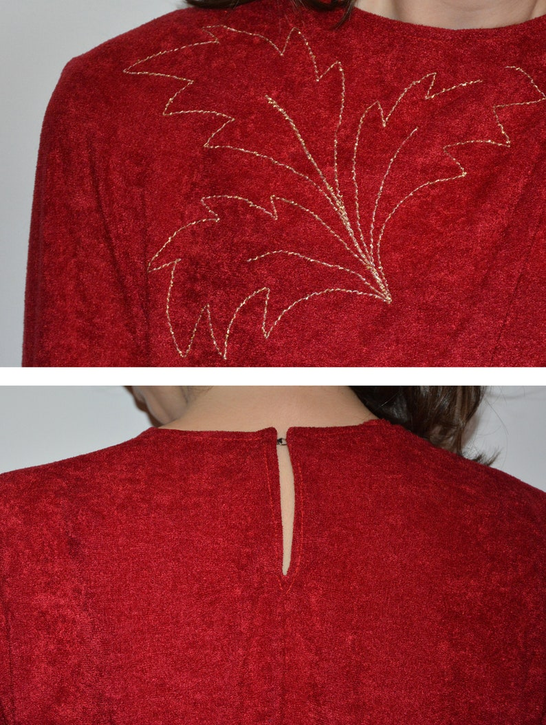 terry cloth red and gold leaves flowers embellished festive retro vintage long sleeve midi dress small 80/'s red embroidered dress