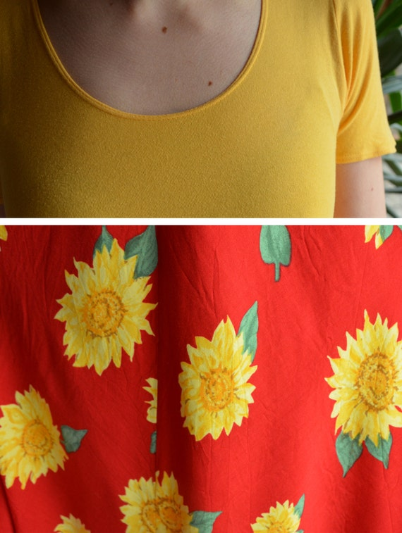 90's sunflower dress, yellow and red colorblock m… - image 5