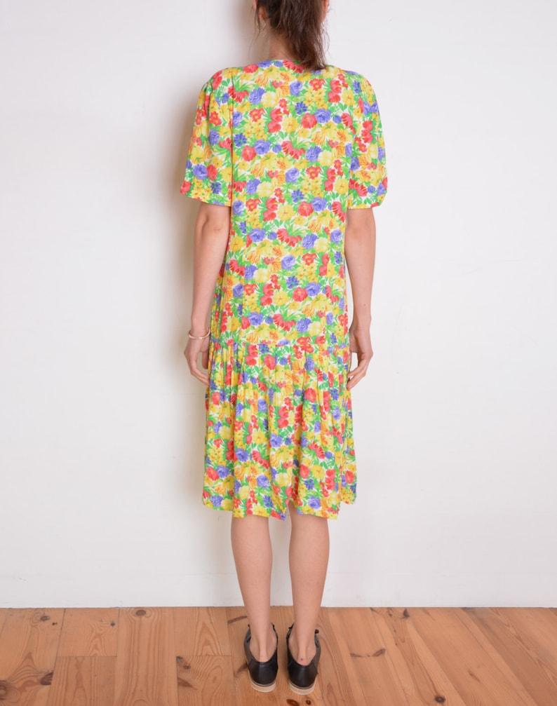 6c69431183c1 90 s low waist floral midi dress buttoned up multicolor