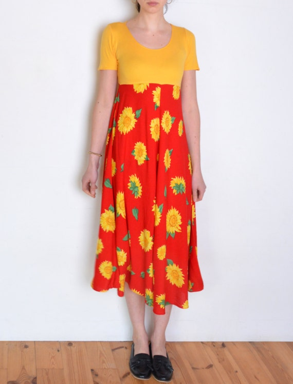90's sunflower dress, yellow and red colorblock ma