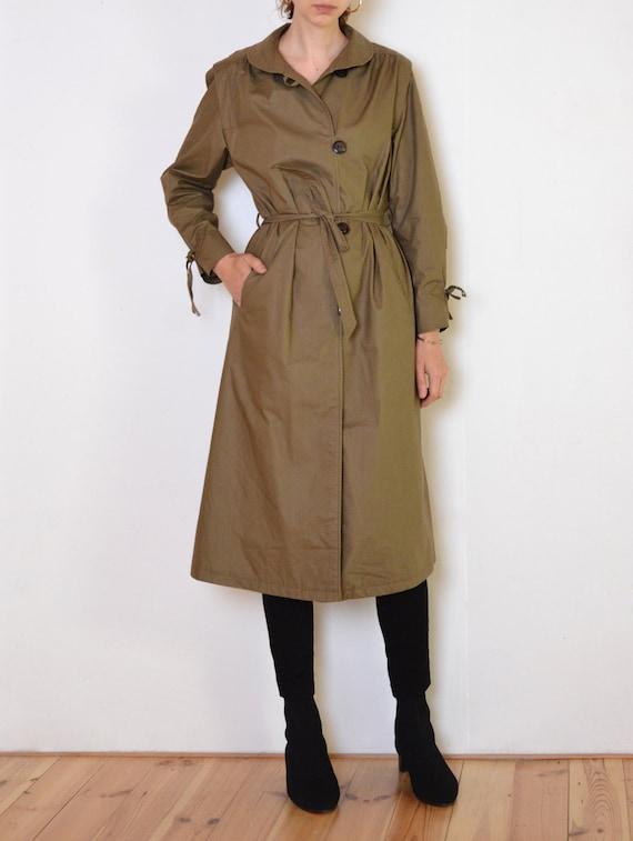 80's Danish coat, army green flared classic mid ca