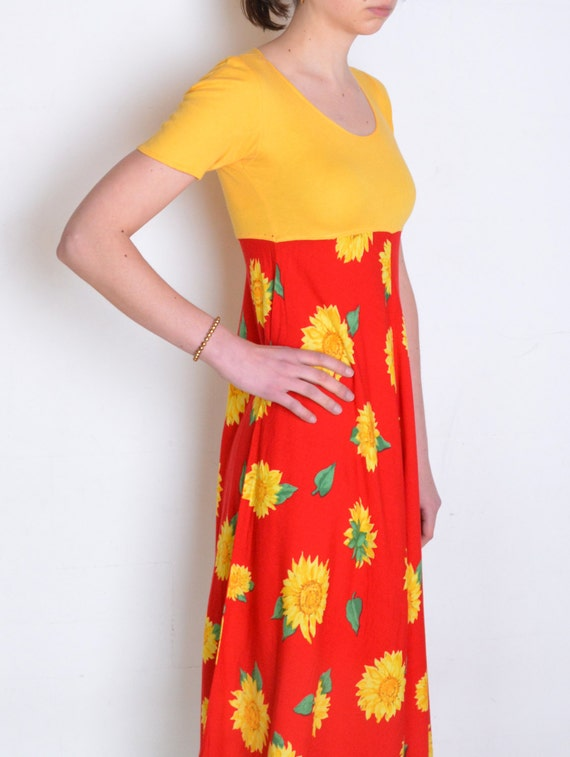 90's sunflower dress, yellow and red colorblock m… - image 3