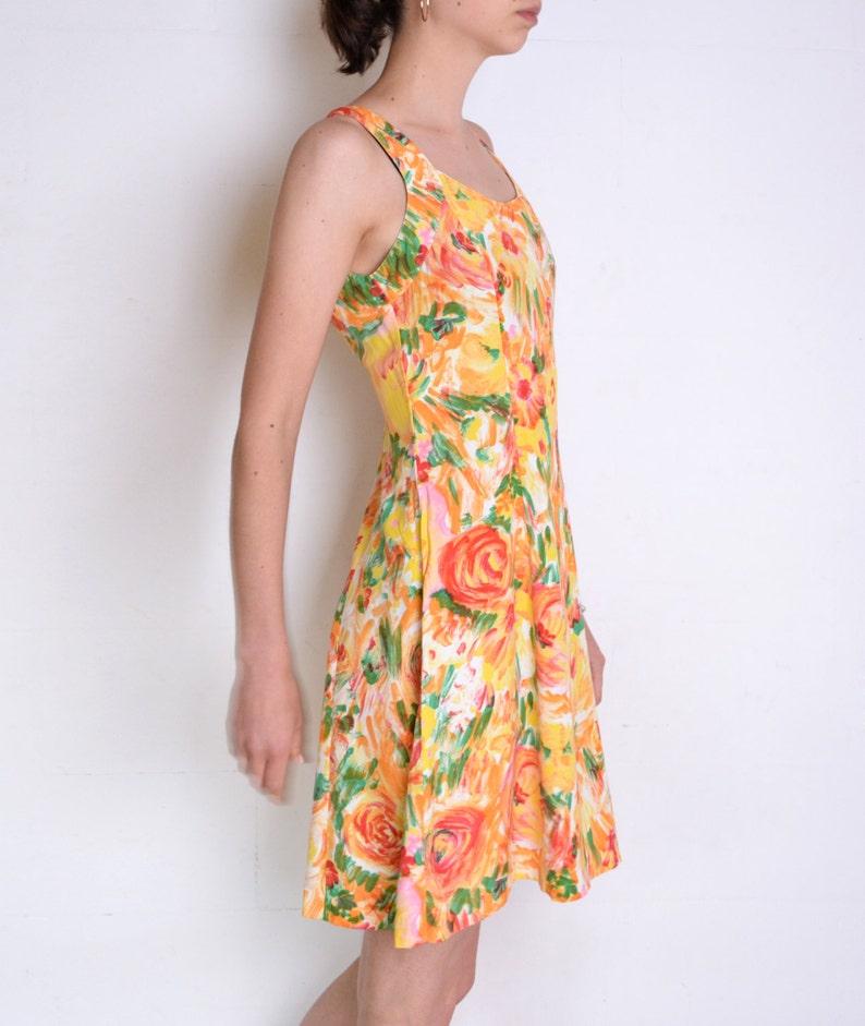 7fe669ad0d4ef 90's cage back floral skater dress multicolor happy | Etsy