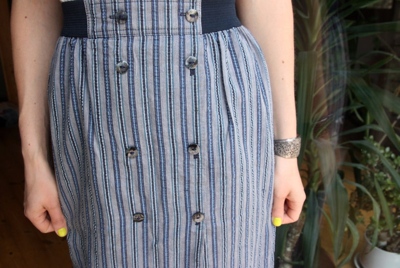 80/'s Country Casuals buttoned down striped midi skirt blue white and gray chambray long skirt