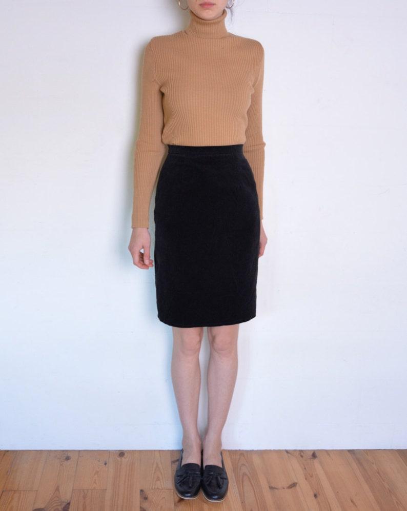 7ce2fcbb22371 Años 90 negro falda de terciopelo falda negra de talle alto