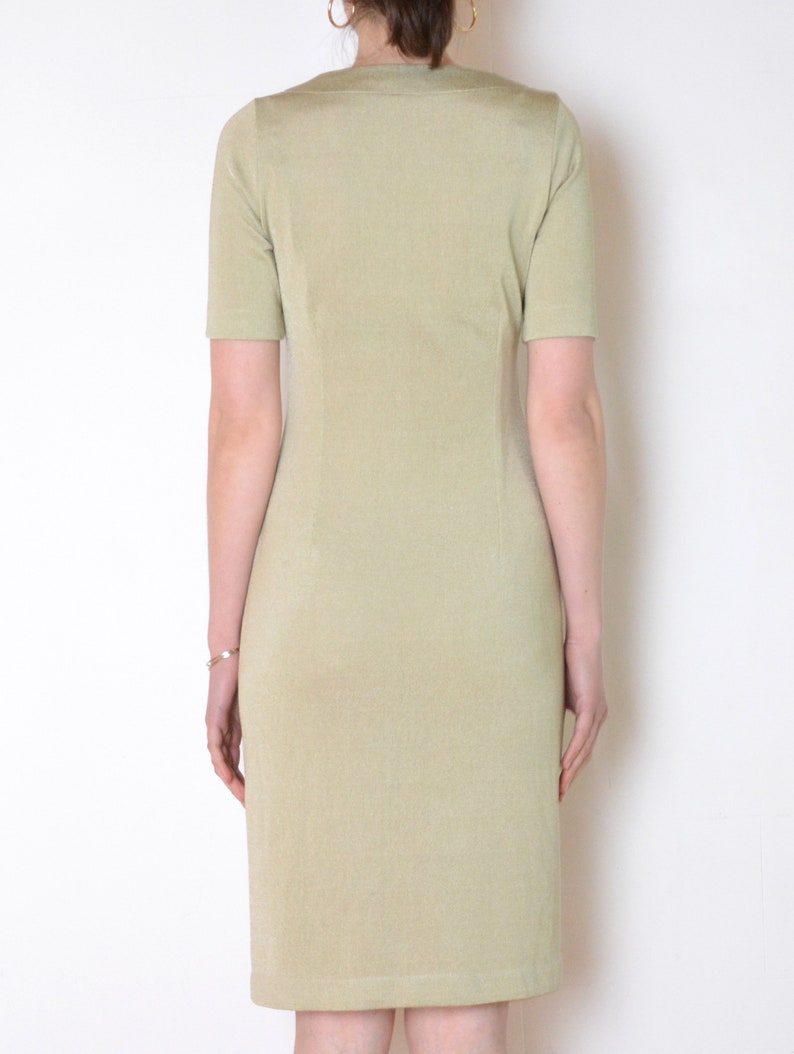 v neck short sleeve knee lenght dress vintage minimalist silky sweater dress metallic shift dress 90/'s glossy pale green knit dress
