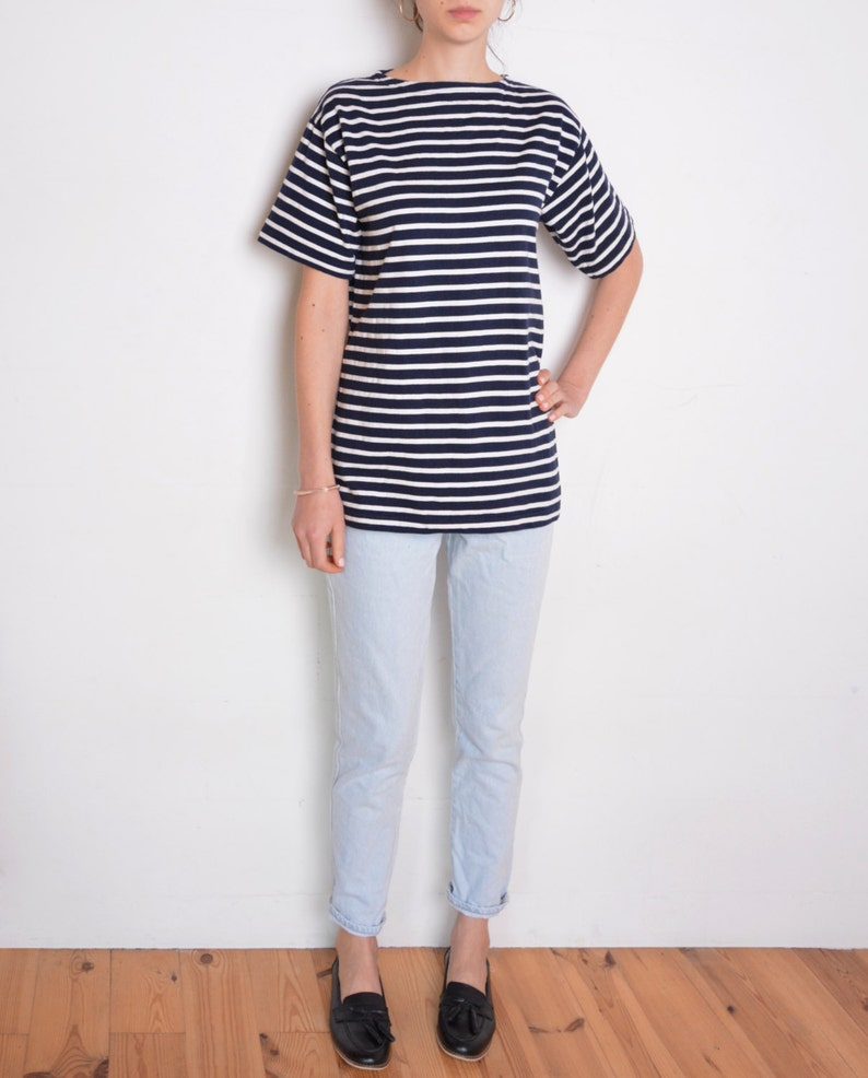 09d3d286e7dcb 90's oversized striped t shirt, nautical white and navy stripes, sailor  blouse, French style, mariniere, breton size medium or large