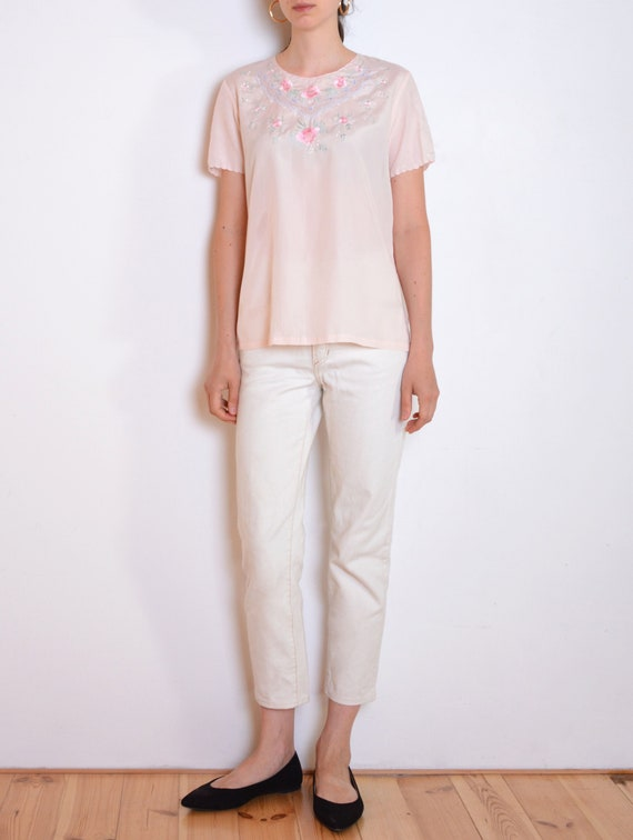80's hand embroidered Chinese blouse, pastel pink