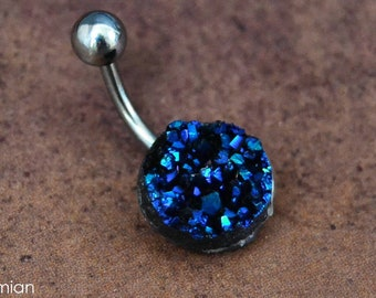 Blue Druzy Belly Button Ring Navy Blue Belly Ring Surgical Steel Short Medium Long Druze Belly Button Ring 14 Gauge  Fast Shipping On Sale