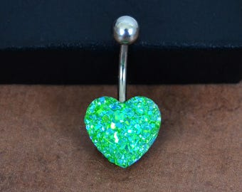 Belly Button Ring Heart Belly Ring Spring Green Short Belly Button Ring Faux Druze Belly Button Ring 14G Surgical Steel Bar