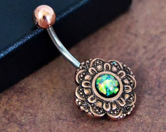Belly Button Ring  Black Opal with Green Fire  Rose Gold Opal Belly Ring  Opal Belly Jewelry Navel Ring