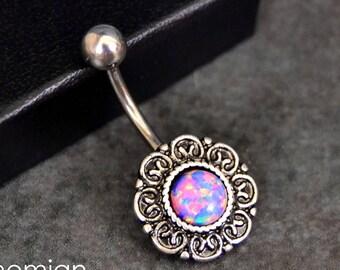 Purple Opal Belly Button Ring Opal Belly Button Ring Opal Belly Jewelry 14G Opal Navel Ring