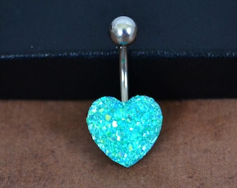 Belly Button Ring Heart Belly Ring Aqua Turquoise Short Belly Button Ring Faux Druze Belly Button Ring 14G