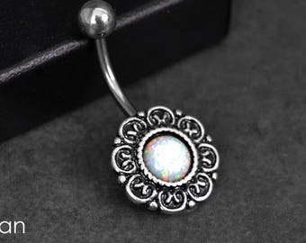 Belly Button Ring White Fire Opal Fast Shipping Belly Ring Shop Navel Ring Opal Belly Jewelry - 14G - Surgical Steel - Opal Navel Ring