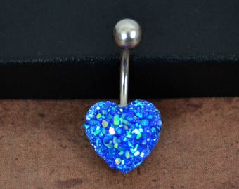 Belly Button Ring Heart Belly Ring Blue Belly Ring Heart Short Belly Button Ring Faux Druze Belly Button Ring 14G