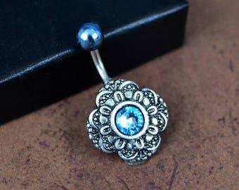Silver Belly Button Ring Aquamarine Silver Navel Ring Short Medium Long Crystal Belly Ring 14G