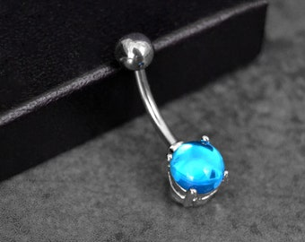 Belly Button Ring  Aqua Belly Ring Vintage Czech Glass  Short Belly Button Ring Aquamarine Belly Ring  Surgical Steel Belly Ring 14 Gauge