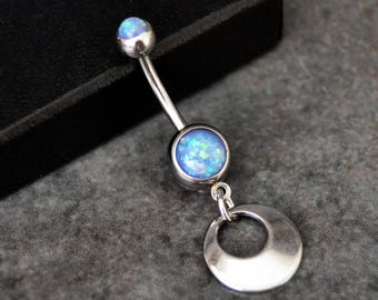 Blue Opal Belly Button Ring - 14g - Surgical Steel - Dangle Belly Ring - Opal Navel Ring - Opal Belly Jewelry - Opal Belly Piercing