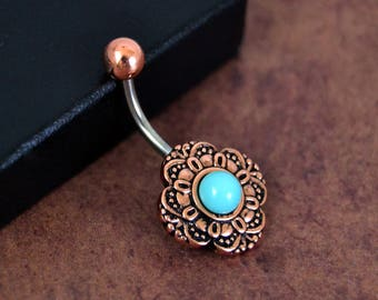 Belly Button Ring Rose Gold Turquoise Belly Ring Vintage Czech Glass 14 gauge Surgical Steel  Navel Ring