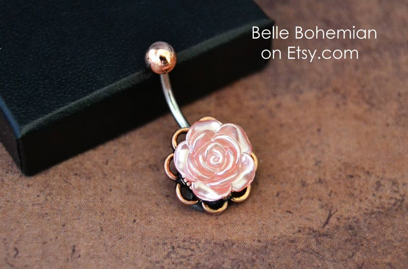 Rose Gold Belly Button Ring Peach Rose Pearlized Rose Short Medium Long Rose Belly Button Ring 14g Surgical Steel