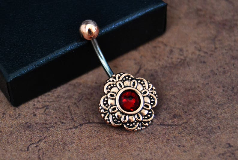 Ruby Red Rose Gold Belly Button Ring Shop Fast Shipping Swarovski Red Short 6mm Bar Belly Button Ring 14 Gauge Surgical Steel