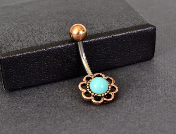 Belly Button Rings Small Turquoise Belly Ring Surgical Steel Bar Navel Ring Rose Gold Belly Ring Short 6mm Fast Shipping Little Flower