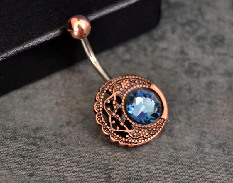 Rose Gold Belly Button Rings Denim Blue Belly Button Ring Crystal Belly Ring Short Surgical Steel Piercing Nombril Navel Ring Jewelry