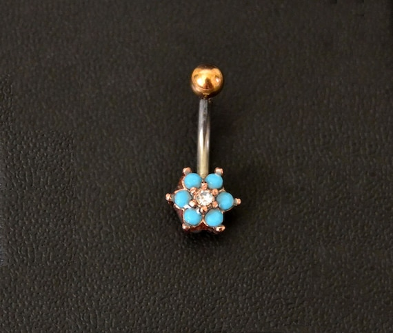 Turquoise Belly Rings Rose Gold Belly Button Ring Surgical Steel Bar Little Flower Navel Ring Short Blue 6mm Piercing Nombril