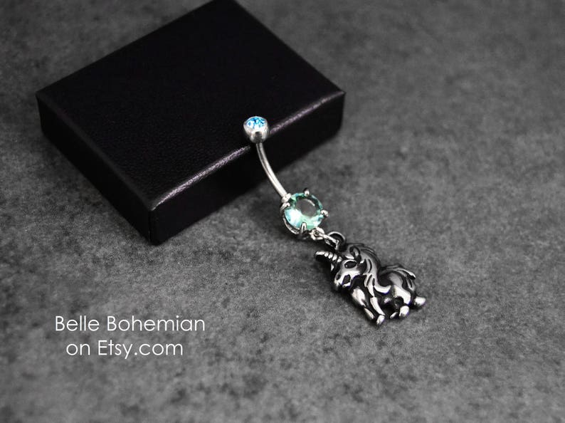 Belly Button Ring Dangle Belly Button Ring Silver Belly Button Ring Unicorn Belly Button Ring 14g Surgical Steel