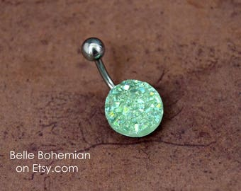 Soft Green Belly Button Ring Green Belly Button Ring Druzy Belly Ring Short Medium Long Druze Belly Button Ring 14G