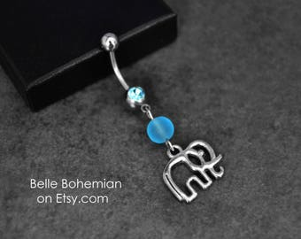 Elephant Dangle Belly Button Ring - Sea Glass Belly Ring - Short Medium Long Belly Ring - Silver Belly Button Ring, 14G Surgical Steel