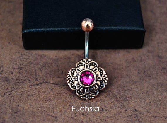 Hot Pink Rose Gold Belly Button Ring Swarovski Elements Short Etsy