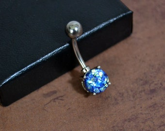 Belly Button Ring Vintage Blue Opal Short Bar Silver Belly Ring 14 gauge Surgical Steel Everyday Belly Ring Czech Glass  Belle Bohemian