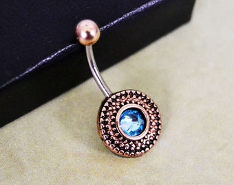 Belly Button Ring 16 GAUGE Rose Gold Belly Ring Aqua BLUE Belly Ring Aquamarine Birthstone Short Belly Ring Surgical Steel Bar