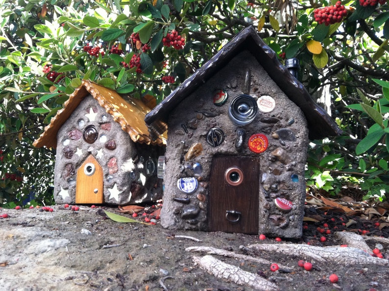 Custom made small concrete and wood fairy houses for the garden or wherever  a little magic is needed