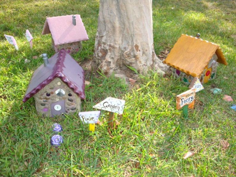 Custom made Miniature concrete and wood Fairy Houses for the garden or  wherever a little magic is needed